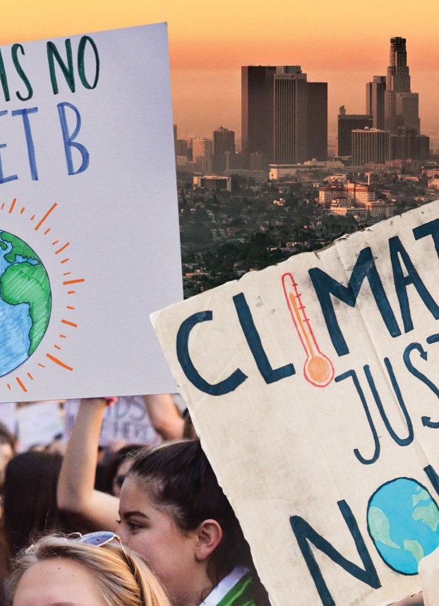 People and signs during a climate change march