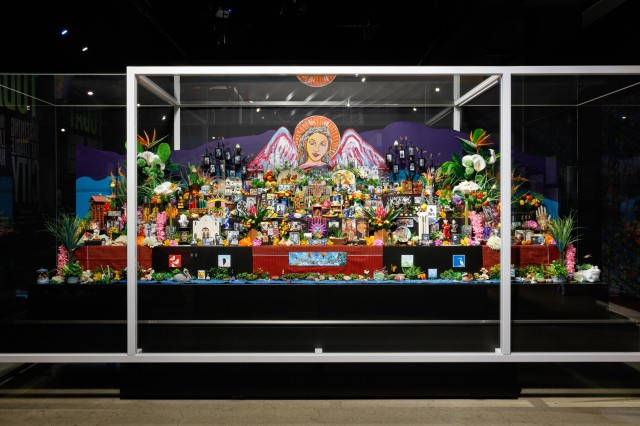 A richly textured and colorful altar dedicated to the diversity of Los Angeles