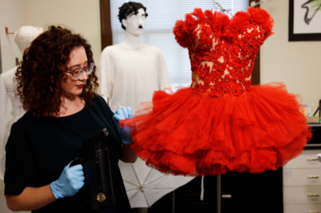 Marina Gibbons working on Betty Grable Red Tutu