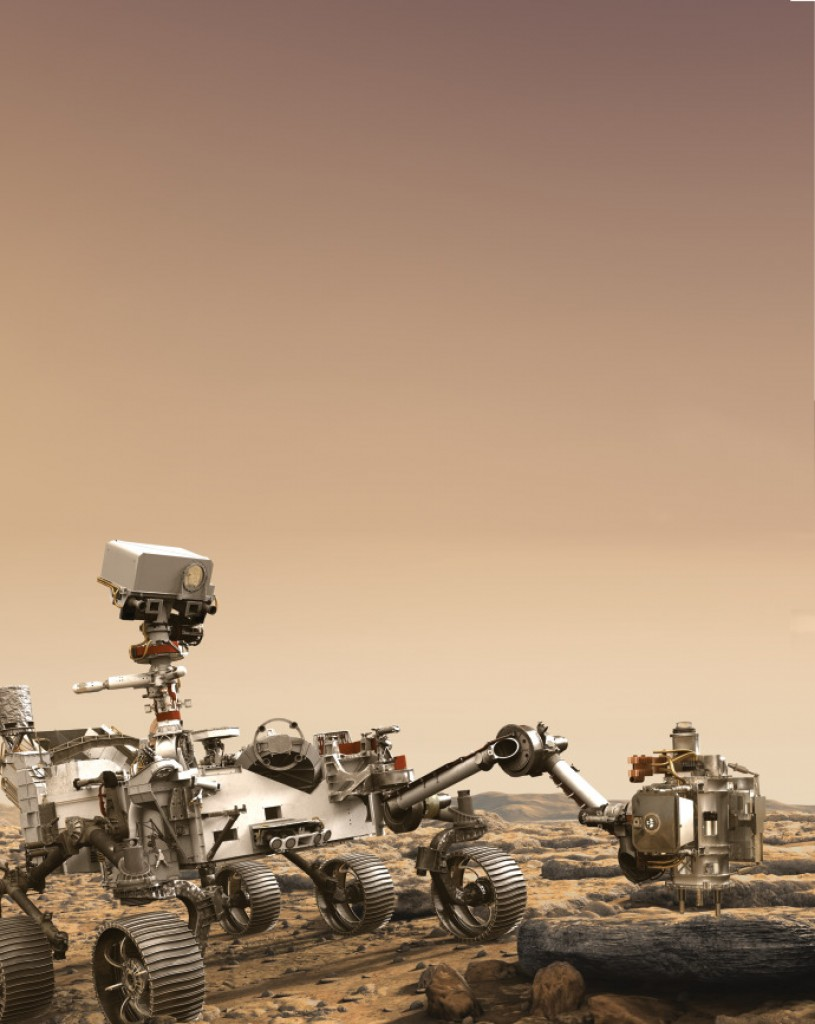 This artist's rendition depicts NASA's Mars 2020 rover studying a Mars rock outcrop.