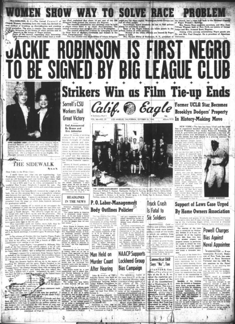 a front page of the California Eagle Newspaper
