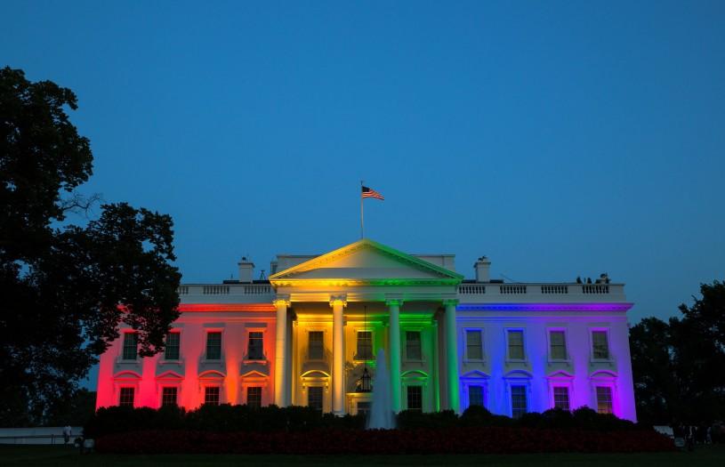 White house illuminated in rainbow colors