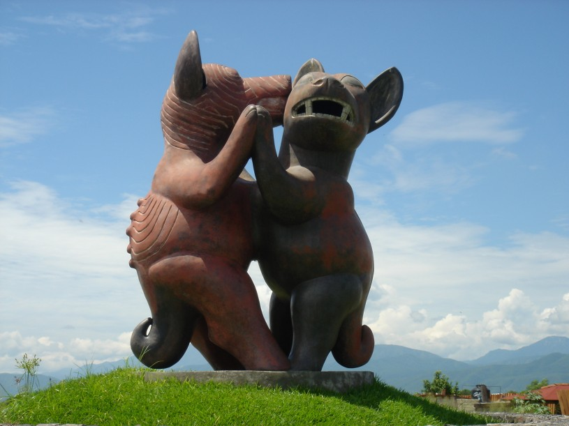 Large statue of two Colima Dogs