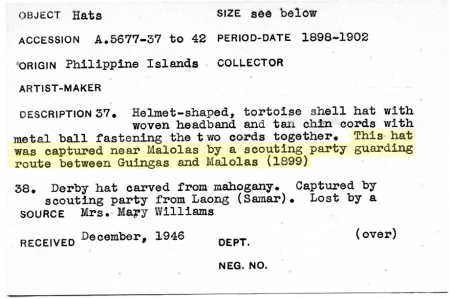 "Salakot description information listing the object as ""captured."""